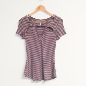 Free People Fitted Striped Tee Size Large